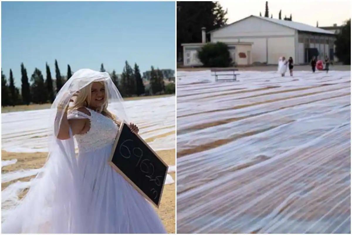 अपनी शादी में दुल्हन ने बना डाला वर्ल्ड रिकॉर्ड, पहना दुनिया का सबसे लंबा वेडिंग वेल