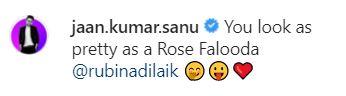 Jaan Kumar Sanu comment on Rubina Dilaik photo