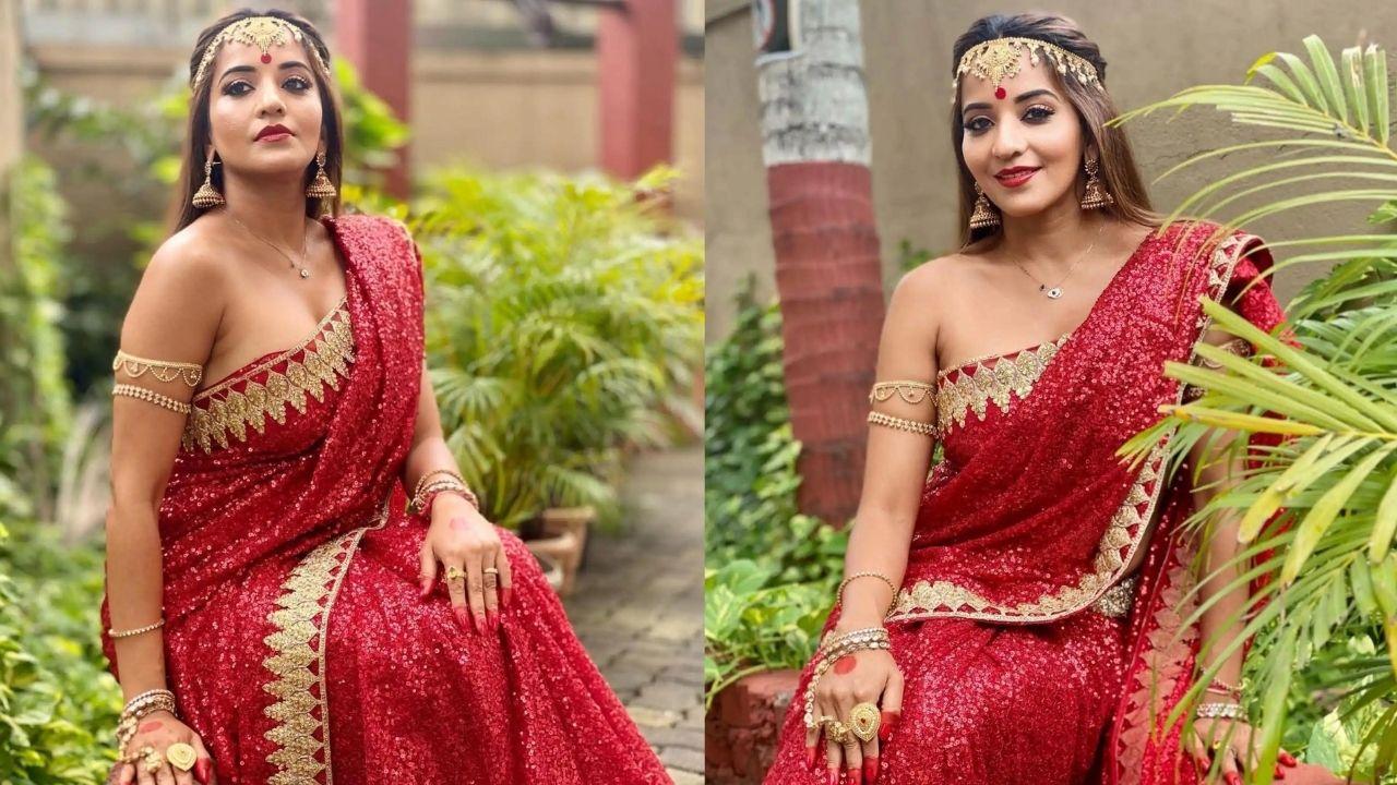 Monalisa Red Saree Pictures: लाल साड़ी में मोनालिसा ने ढाया कहर, गहनों से लदी दिखीं एक्ट्रेस
