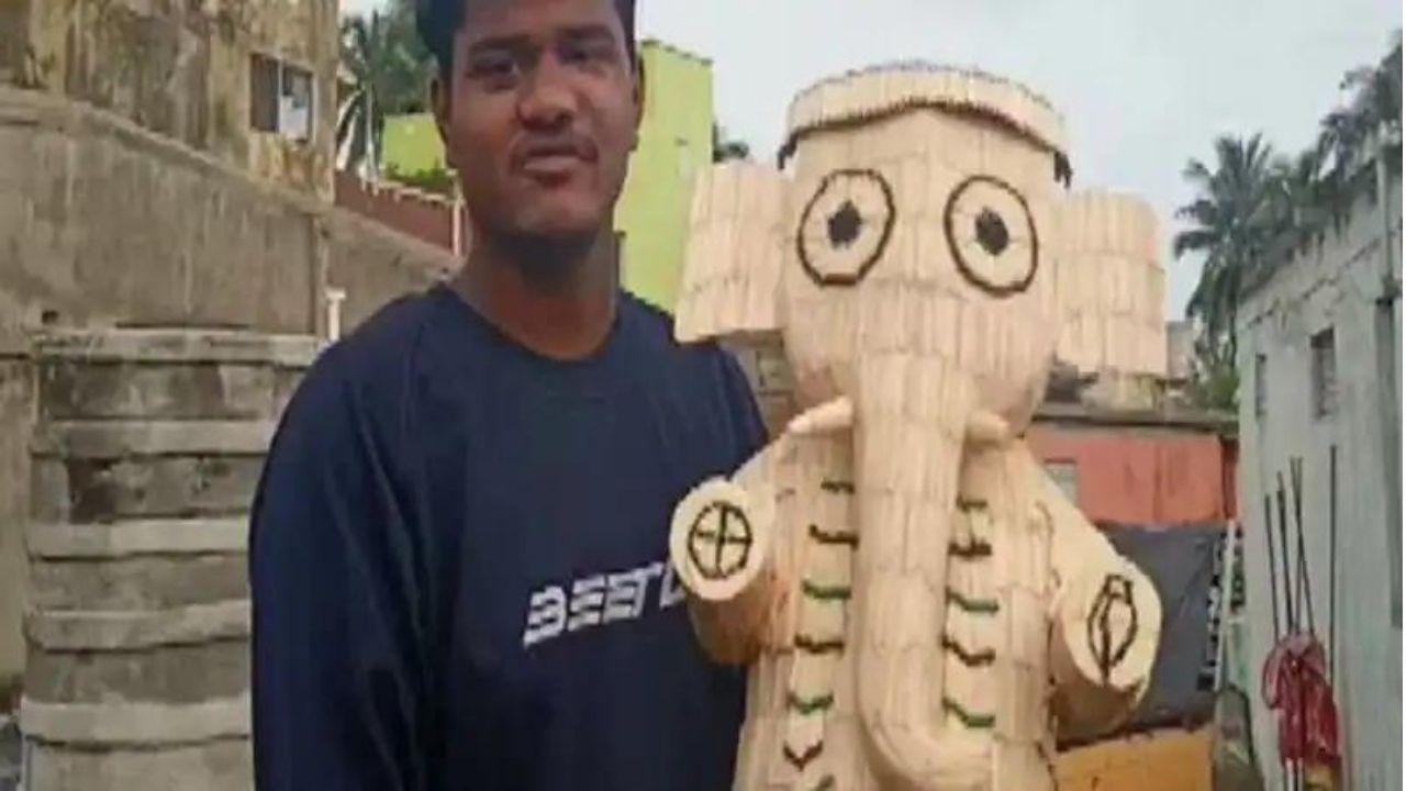 Ganesh Chaturthi 2021: ओडिशा के इस कलाकार ने माचिस की तीलियों से तैयार की बप्पा की मूर्ति